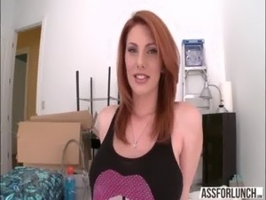 Super hot redhead Lilith Lust shows her amazing butt and gets fucked on top free