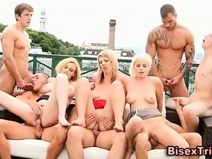 Bisexual group cumshots orgy
