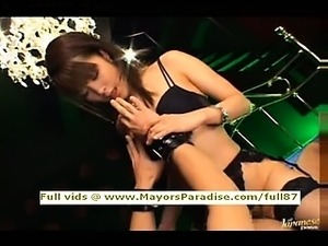 Mihiro smart Asian in lovely black lingerie gets a hard fucked
