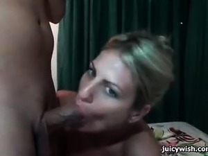 Blonde slut gets mouth filled by cum