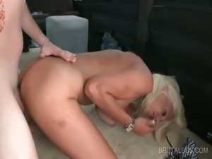 Ash blonde bitch takes cock in mouth and cunt
