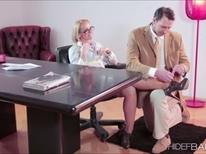 Beautiful Kathia Nobili gets banged in the office