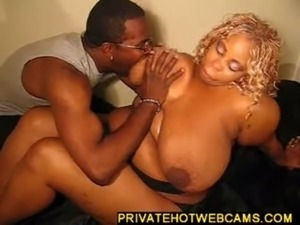 Big ebony babe with huge tits gets a fuck from big dick...