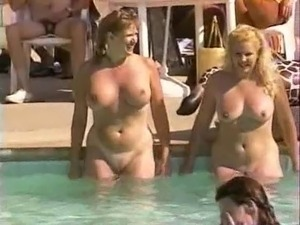 girls naked posing at pool
