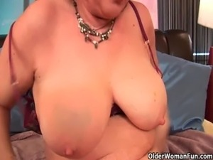 Full figured grandma Valencia with her big tits needs an orgasm free