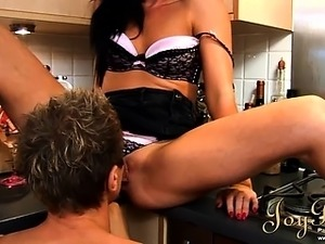 Nice hard sex scene in the kitchen