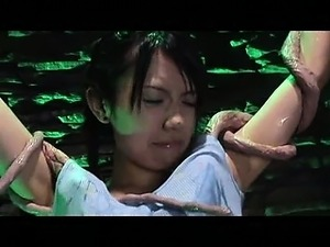 Sexy Asian girl pleasured by real life tentacles