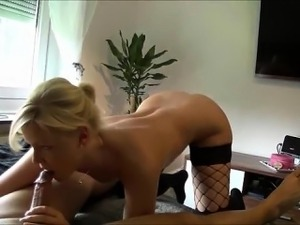 cute blonde in stockings video