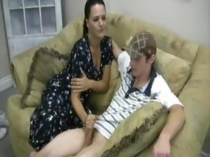 younger sister giving handjob