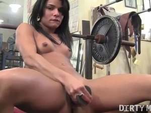 Lesbian sex in the gym