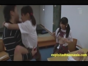 japanese teacher giving student a handjob