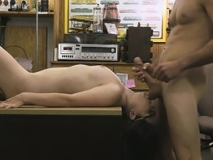 Slutty Brunette Getting Drilled On Pawn Shop Desk In Office
