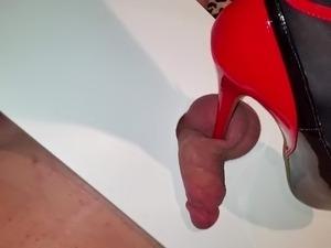 Peep toe heels crushing slaves cock