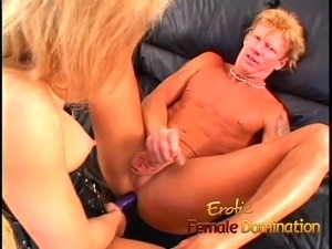 Horny slave makes his mature blonde mistress a very happy