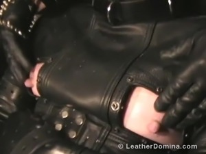 free shemale in leather gloves video