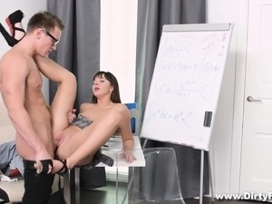 Dirty schoolgirl with tiny tits makes no attempt to resist a long dick