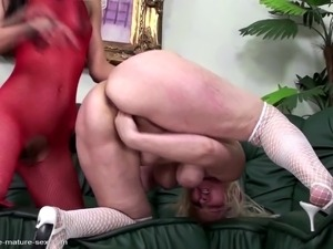 Insane sexbomb granny rough punished by sweet girl