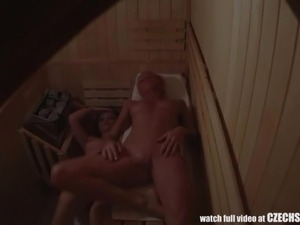 young girls in sauna