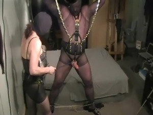 pantyhose encasement strap-on role play