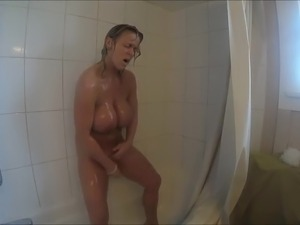 Blond milf in shower