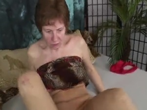 Hard nippled granny toys and fucks