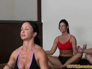 Cfnm milfs dominate over the yoga instructor
