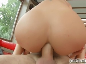 Ass Traffic Nomi Melone swallows huge jizz load after ass