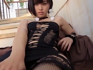 HITOMI - Ripped Mini Dress Fishnet Stockings (Non-Nude)
