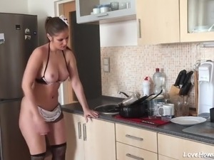 topless kitchen video