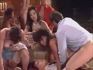 woman enjoying group sex