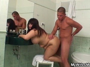 lesbian milf seduces teen in bathroom