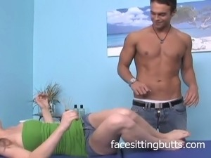 A horny blonde teen with beautiful feet