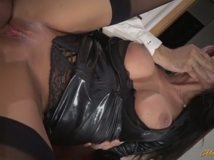 Sexually charged babe in sexy outfit Ania Kinski gives her head and fucks...