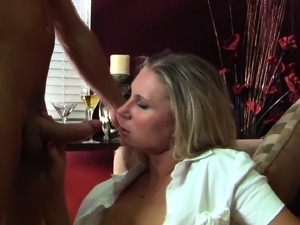 Horny blonde with big boobs gets her hairless cunt fucked on the sofa
