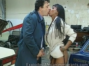 Beautiful ebony officer old partner's gun with her hot mouth