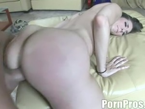 Brunette cougar with fake tits moaning while riding massive dick hardcore