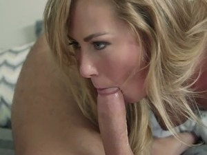 Blond haired sweet bitch in blue lingerie suck stiff penis of her man greedily
