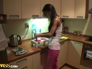 teen couple sex video in kitchen