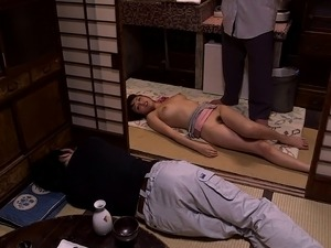 A Japanese girl lets her boss fuck her tight love hole