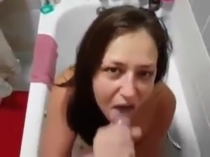 Horny college girl loves tasting my cum when taking a bath