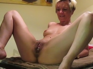 german wife fingering her hairy pussy