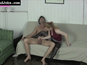 Beautiful blonde Brenna Pepper makes a long dick happy with her hands