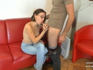 hot young girl fucked on couch