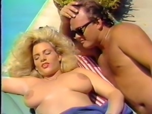 Hot and voracious busty blondie by the pool getting dick