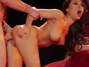 Sexy Asian diva with long hair giving massive dick blowjob