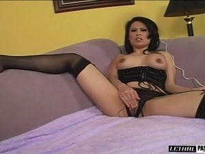 Sexy Asian honey Sasha gets her pussy drilled with a monster black rod