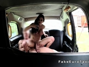 Huge boobs Milf likes giving blowjob in fake taxi