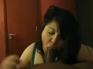 Trashy BBW slut sucking massive dick balls deep in POV