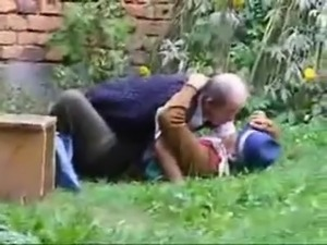 Russian granny and grandpa fucking outdoor