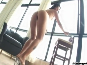 Delectable Brazilian brunette in high heel getting fucked hardcore anal